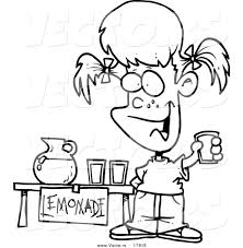 vector of a cartoon little selling lemonade outlined