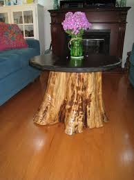 interesting round creamy tree stump coffee table metal table wheel