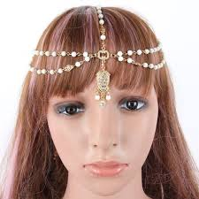 chain headband fashion summer women metal rhinestone chain jewelry