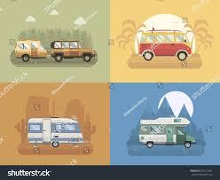 rv travel concepts retro camper trailer stock vector 376767991