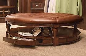 Round Coffee Table With Shelf Brilliant Round Leather Ottoman Coffee Table Coffee Tables Ideas