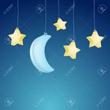 Flag With Tree And Moon Cute Moon And Stars Hanging On Night Background Vector Royalty