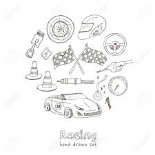 Images Of Racing Flags Racing Auto Items Sketch Icons Hand Drawn Vector Set With Racing