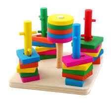 jeux en bois pour enfants jeu de tri netspower puzzle en bois empileur géométrique formes à
