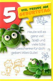 spr che zum 5 geburtstag grußkarte 5 kinder geburtstag viel freude am 5 geburtstag frosch