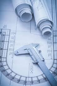 construction plans construction plans metal vernier caliper on stock photo image