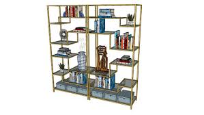etagere bookcase gold dwell studio with accessories 3d warehouse