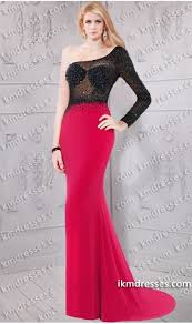 super chic beaded sheer illusion one shoulder long sleeve prom