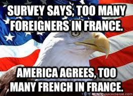 America Eagle Meme - survey says too many foreigners in france america agrees too