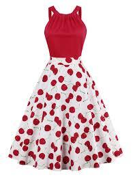 cherry print high waisted pin up dress in red 2xl sammydress com
