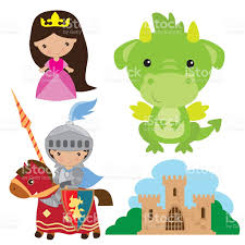medieval knight princess and dragon vector illustration stock