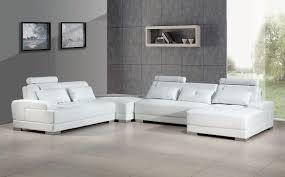 Contemporary White Leather Sofas Contemporary White Leather Sectional Sofa W Ottoman