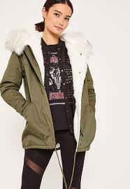 khaki short faux fur lined parka coat missguided