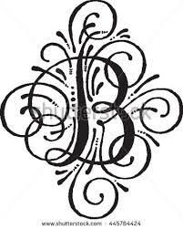 monogram letter b letter b monogram initial stock vector 445764424