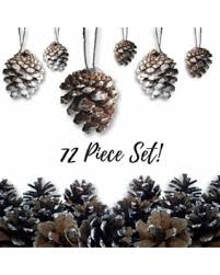 bargains on pine cone ornaments set of 72 small brown ornaments