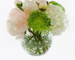 Large Round Glass Vase Real Touch Artificial Lotus Arrangement In Round Glass Vase