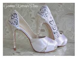 silver and black customised shoes with sparkly diamantes