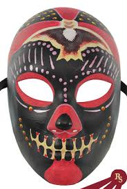 Day Of The Dead Masks Red Black And Yellow Day Of The Dead Costume Venetian Mask