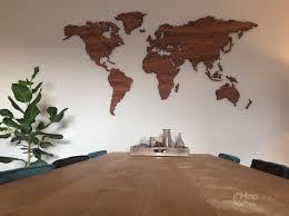 World Map Wood Wall Art by World Map Palisander Mapawall Com