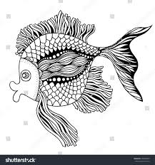 vector hand drawn doodle outline fish stock vector 438952603