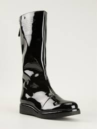 emporio armani wedge boots in black lyst