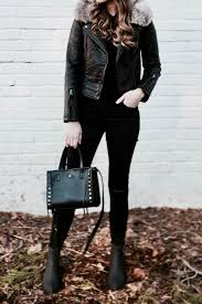 moto style jacket all black winter style with faux fur collar moto jacket u2014
