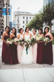 fall bridesmaid dresses rich marsala which pops when mixed with blush pink wedding