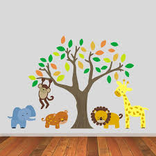 jungle wall stickers jungle animals and tree wall stickers baby s room