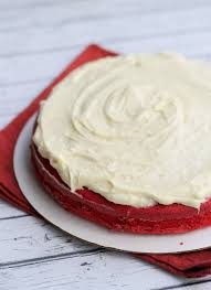 rosy red velvet cake with white chocolate cream cheese frosting