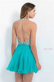 short jeweled halter neck blush intrigue 94 sea green prom dress