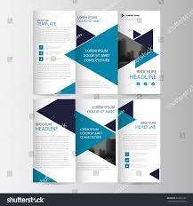 blue black triangle business trifold leaflet stock vector