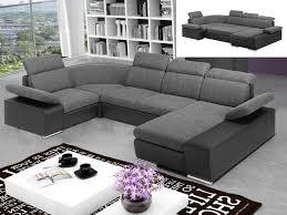 canape bicolore design canapé d angle panoramique convertible en tissu et simili cyrano