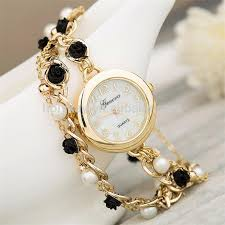ladies watches bracelet style images Fashion vogue watch leather band lady watch pearl beads lady jpg