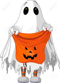 child in ghost costume trick or treating royalty free cliparts
