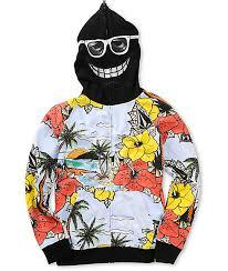 volcom boys vacation hawaii black mask hoodie zumiez