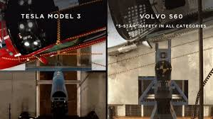 tesla model 3 versus volvo s60 side impact video