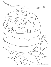 boy enjoying ride cable car coloring pages download free