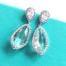 turquoise bridal earrings turquoise wedding bridal earrings aqua blue sterling silver cz