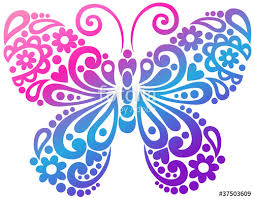 butterfly swirls tatto vector design elements stock image and
