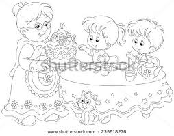 tea party coloring download free vector art stock graphics