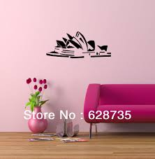 sydney opera house sticker australia world famous architecture sydney opera house sticker australia world famous architecture home decoration vinyl art mural wall decals free shipping in wall stickers from home garden