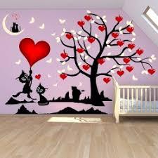 stickers chambre fille arbre et chats où les coeurs fleurissent