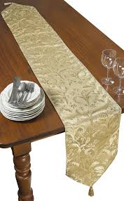 luxury damask table runner luxury damask design table runner color gold size 70 w x 13 d ebay