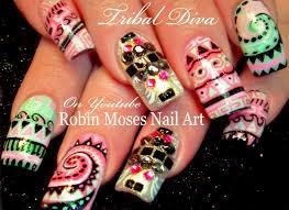 tribal nails diy long nail art design tutorial youtube