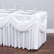 6 Foot Fitted Tablecloth 4 Ft Drape Chiffon All In 1 Tablecloth Pleated Skirt White