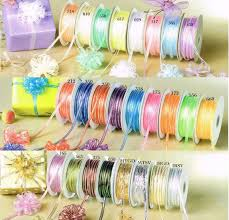pull ribbon 1 8 50 yards organza iridescent center with string pull ribbon