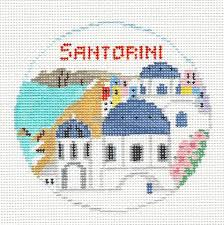 travel santorini italy handpainted needlepoint canvas by