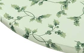 Fitted Oval Vinyl Tablecloths Miles Kimball Hollyberries Elasticized Vinyl Table Cover Walmart Com