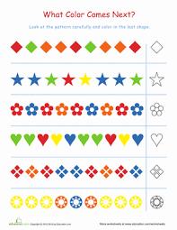 kindergarten pattern worksheets worksheets