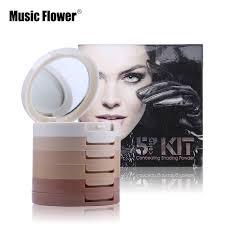 professional make up flower brand 5 colors pressed powder palette foundation base